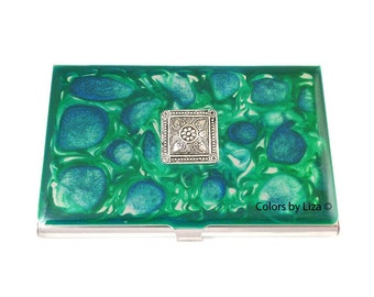 Art Deco Medallion Business Card Case Inlaid in Hand Painted Enamel Greens and Blues Pebbles Personalized and Custom Color Options