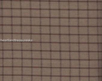 Dunroven House H-90 Homespun Brown ~ Wheat Stripe Fabric 1/2 Yd Cut Off Bolt