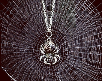 spider necklace, THUNDERDOME, gothic jewelry, punk rock girl, zombie apocalypse, horror, tarantula, black widow, death metal, goth, gothic