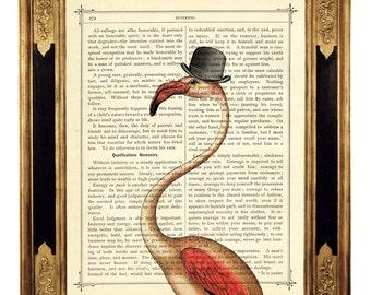 Pink Flamingo Dictionary Art Print Bowler Hat Steampunk Gentleman - Vintage Victorian Book Page Art Print Poster Bird Wall Decoration