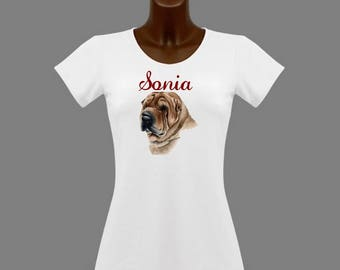 Sharpei white woman t-shirt personalized with name