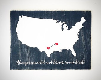 Custom USA Map - 11.5x16 Navy Blue & White Wood United States Map Sign - Customizable Wood World / State / Country Map - Custom State Map