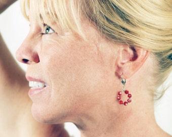 Red Coral earrings | Red hoop earrings | Red earrings | Red and Silver | Red Jewelry | Red Coral Jewelry | Red Hot Chili Pepper
