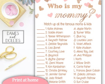 Girl Baby Shower Game, Pink and Rose Gold Printable Baby Shower Game, Who's My Mommy Party Game, Printable Celebrity Baby Matching Game