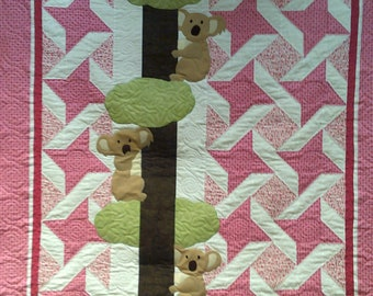RESERVED*****Baby Quilt, Tummy  Time, Baby Shower gift, Pink, Koala Bear, Quilted, Gift for Baby, Baby  Girl,