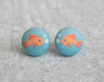 Goldfish Fabric Button Earrings