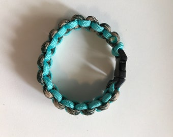 Turquoise and army green braided paracord bracelet