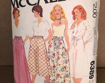 """70s Vintage McCall's 6389 Printed Sewing Pattern - Misses' Set of Skirts, Size 12, Waist 26 1/2"""""""