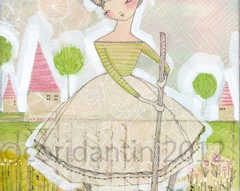 gardener - girl in the garden-archival - limited edition print of a watercolor by cori dantini