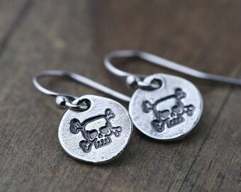 Hand Stamped Skull Earrings Sterling Silver | Handmade Silver Jewelry by Burnish | Halloween Earrings Gift for Women or Girls