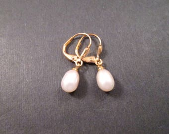 Pearl Drop Earrings, Natural White Freshwater Pearls, Gold Dangle Earrings, FREE Shipping U.S.
