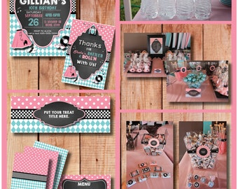 50's Style Retro Customizable Party Pack - Printable with EDITABLE text - you can personalize at home - INSTANT DOWNLOAD
