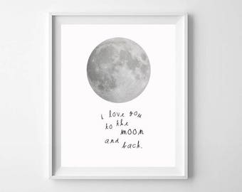 Pink Moon Nursery Art Printable, Love You To The Moon and Back, Cute Pink Moon Nursery Print, Nursery Wall Art, Girls Room Moon Print