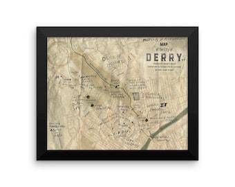 Framed Derry map