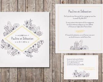 Wedding invitation flowers and feathers