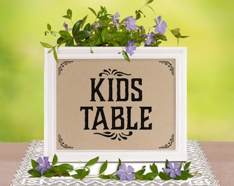 Kids table wedding decor. Printable rustic party decorations. Wedding reception. Kids table sign, kraft paper. DIY decor, instant download.