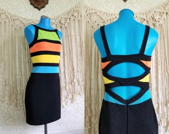 Vtg 80s 90s Colorblock Stretch Cut Out Strappy Back Bodycon Dress || size S M ||