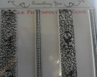 Something Tattered Vintage Style French Wallpaper Stripe Clear Cling Rubber Stamp