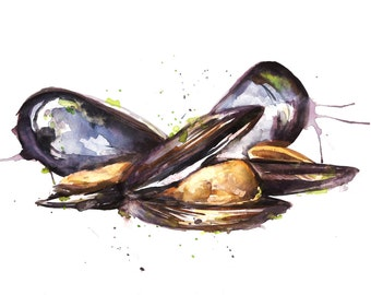 Seafood, Mussels Watercolour Illustration giclée Print