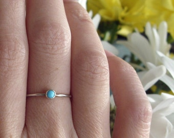 3mm Tiny Turquoise Stone Stacking Ring in Sterling Silver - Super Thin Micro Stacker with Smooth, Hammered, Notched, or Antiqued Band