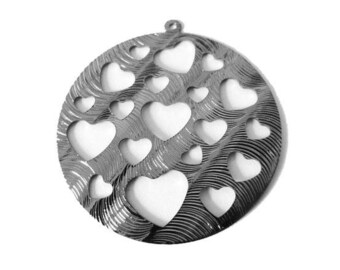 1 x pendant round hollowed heart metal carved 40mm GUNMETAL