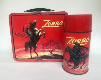 1966 Red Sky ZORRO Lunch Box w/Thermos!