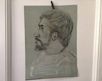 Vintage Portrait, Portrait Drawing Vintage, Oil Pastel Portrait, Portrait of Man, Portrait Drawing, Vintage Original Drawing, 1980's Art