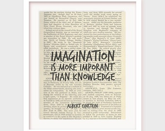 Albert Einstein Quote, Inspirational Quote Print, Imagination is more important than knowledge, Popular Quotes, Einstein, Printable Poster