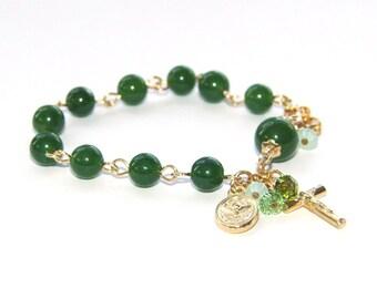 Rosary Bracelet for Girl or Teen, Nephrite Jade (Greenstone) & Holy Family Charm