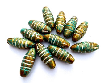 SUPPLY: 14pcs LARGE Terra Cotta Beads - Ceramic Beads - Blue Gold  Handcrafted Beads - 32mm x 12mm - (9-B3-00003998)