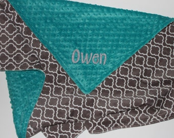 Gray Lattice PERSONALIZED DOUBLE MINKY Blanket or Lovey - Teal
