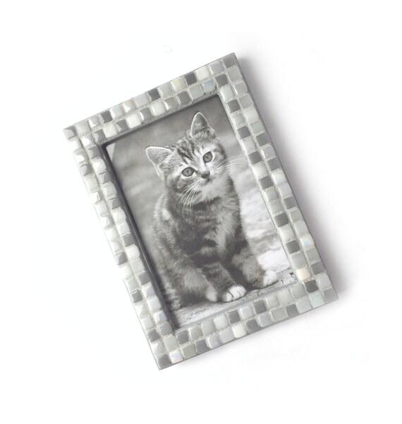 Mosaic Frame, Gray Grey Frame, 4x6 Glass Tile Frame, Handmade Picture Frame, Monochromatic Gray Mosaic Tile Frame, Orange Bronze Frame