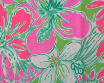 "pink don't give a cluck poplin cotton fabric square 18""x18"" ~ lilly pulitzer"