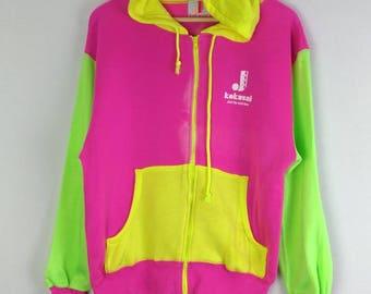 Rare!! Joetsu Kokusai Color Block Hooded Sweatshirt Zipper Long Sleeve Medium Size