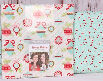 """Moda Bonnie and Camille Vintage Holiday Layer Cake, 10"""" Precut Fabric Quilting Squares"""
