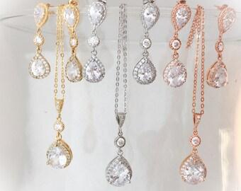 Rose gold-gold or silver Jewelry Set- Bridal jewelry Set- Wedding Jewelry- bridesmaid jewelry- rose gold teardrop jewelry- CZ jewelry