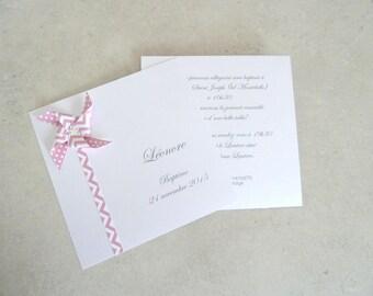 Faire part de naissance - baptême - remerciement moulin à vent pour fille - rose pastel - motif pois