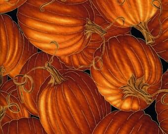 Metallic Gold Pumpkin Fabric, Timeless Treasures Harvest CM6443 Fall Pumpkin Quilt Fabric, Fall Quilt Fabric, Autumn Splendor, Cotton