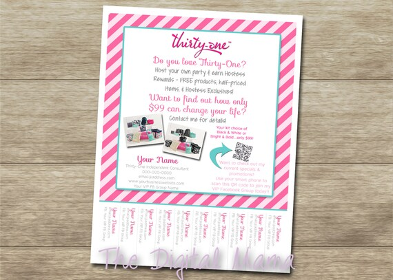 Items similar to Thirty-One Consultant Tear Off Flyer - Thirty-One ...
