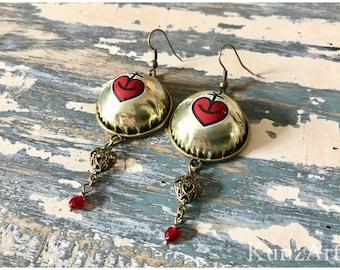 Ankerherz, bottle caps upcycling Earrings