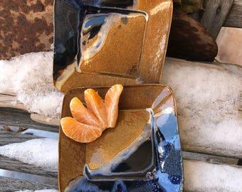 Small Square Dish - Starry Skied Canyon Glaze - Handmade Pottery