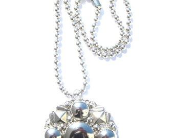 Large Diskette Pendant Necklace