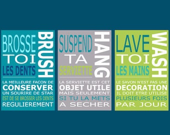 3 posters in french and english to decorate children'bathroom, citation