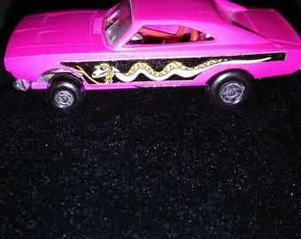 Vintage 1971 Pink Lesney Matchbox Car/ Rattlesnake Dodge Dragster #70