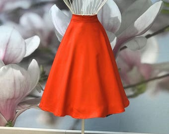 Basic Uni Bright Orange Circle Skirt