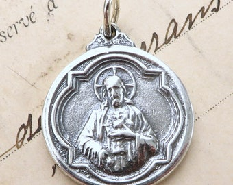 Sacred Heart of Jesus / Our Lady of Grace Medal - Sterling Silver Antique Replica