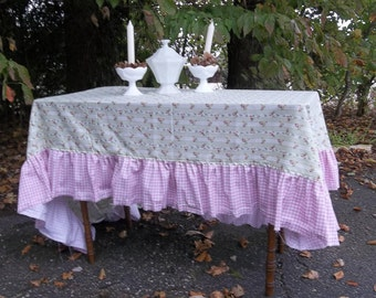 Pink Ruffled Tablecloth Handmade Pink Roses Cottage Table Cloth 56x96 Bridal Shower Decor Floral Tablecloth Wedding Decor