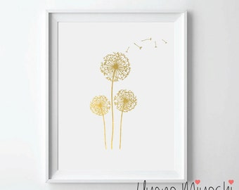 Dandelion Gold Foil Print, Gold Print, Custom Print in Gold, Illustration Art Print, Gold Foil Art Print