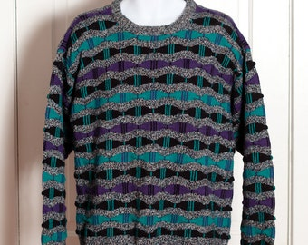 Vintage 80s 90s Men's Sweater - colorful textured sweater