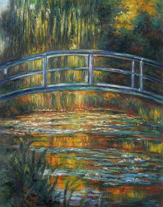The Water Lily Bridge   Claude Monet Hand Painted Oil Painting  Reproduction, Water Lily Garden Landscape, Wooden Footbridge Over Pond Scene